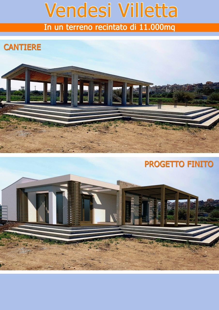 Villetta in costruzione, piano terra di 180 mq con terrazzo di 25 mq, veranda di 80 mq e terreno di   ...